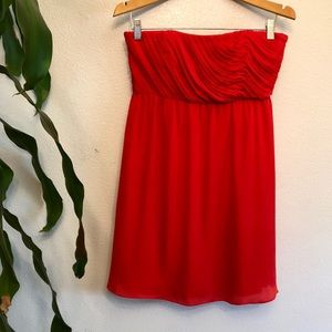 Alice + Olivia Red Silk Halter Dress